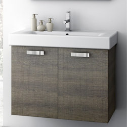 ACF - 30 Inch Vanity Cabinet With Fitted Sink - Set Includes:. Vanity Cabinet (2 Doors). High-end fitted ceramic sink. Vanity Set Features . Vanity cabinet made of engineered wood. Cabinet features waterproof panels. Vanity cabinet in wenge, larch canapa, grey oak, glossy white finishes. Vanity cabinet features two easy-to-open doors. Chrome door handles elegantly completes vanity surface. Faucet not included. Perfect for modern bathrooms. Made and designed in Italy. Includes manufacturer 5 year warranty.