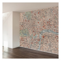 WallsNeedLove - Londoner Map Wall Mural Decal - They say home is where the heart is...we say home is where you put a giant mural on your wall to mark where you heart is...London!