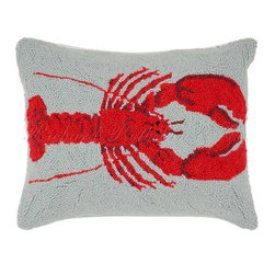 Nautical Red Lobster Hooked Pillow - Whether buying fresh lobsters at the pier or steaming them during a weekend on Cape Cod, one of Boston's most celebrated meals is now available on this adorable hooked pillow.