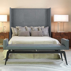 Global Views - Global Views Faux Bois Grey Transitional Leather Headboard - King X-34819.9 - Covered in grey quilted leather and will work with any standard metal bed frame. Finished on all sides so the bed can float in a room. Available in Queen or standard King size.