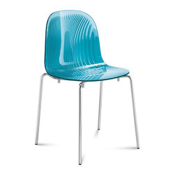 Domitalia - Playa Stacking Chair - Transparent Blue - Chrome Frame - Set of 2 - Fabrizio Batoni's Playa Chair is subtle, compelling - with a minimal silhouette that is highlighted by textural ribbing at the back of its transparent scooped seat. The structure is made using an embossing process which creates an interplay of refracted light. Playa features a 4-leg chromed frame with styrene acryl nytril shell in two colors. Select Light Blue (Turquoise) or Smoke Grey. Stackable to six high. Sold in sets of two.