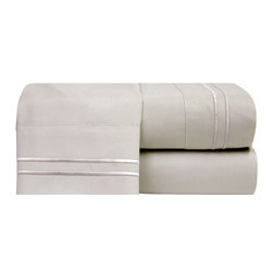 Bellissimo Hotel Stripe Microfiber Sheet Set King Champagne - Microfiber sheets feature a two line stripe on flat sheet and pillowcases that give an elegant look.
