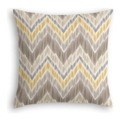 Gray & Yellow Large Ikat Chevron Custom Euro Sham - The secret to those perfectly made beds you eye in magazines? Euro shams. Complete your bed set with a set of Simple Euro Shams for a look that's as stylish as it is snuggly.  We love it in this giant ikat chevron in pastel grays and yellows on smooth sateen. This flame stitch will set your decor ablaze.