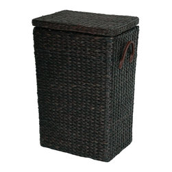 "Oriental Unlimited - Exotic Woven Rush Grass Laundry Basket (Red B - Color: Red BrownBeautiful, exotic woven rush grass exterior. Attractive tapered body with extra thick hinged lid. Convenient matching faux leather vinyl handles. Shown in Black. 15 in. W x 11 in. D x 23 in. HOur new collection of woven rush grass furniture & accessories provides an attractive alternative to wicker and rattan furniture. This clothes hamper has a distinctive tapered design, with a small ""footprint"". The outside is soft, thick, woven rush grass, with a cotton fabric lining inside. The hinged lid and convenient faux leather handles make this an excellent quality laundry basket."