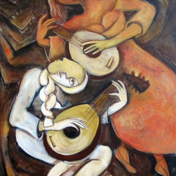 Lutes, Original, Painting - I love painting musicians & musical instruments, especially the cello. I noticed a  lot of lutes in old paintings and I just wanted to add lutes to my paintings. This is textured canvas and the edges are painted.