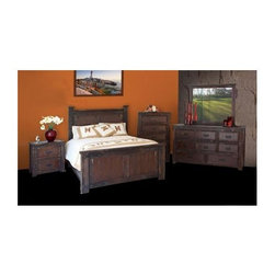 Artisan Home Furniture - Cordoba 5 Pc Panel Rustic Bedroom Set (Queen) - Choose Bed Size: QueenIncludes dresser, mirror, nightstand, chest and bed. 6 Step lacquered finish. Hand forged iron metal brackets and pulls . Full extension drawer glides. Mortise and tenon joint construction ensures durability. Dove tail drawer construction. Extension glides provide better access into drawers. Solid Pine construction with Walnut veneers throughout panels. Chest: 36.25 in. W x 20 in. D x 55 in. H. Dresser: 70 in. W x 20 in. D x 38.50 in. H. Mirror: 49.50 in. W x 41 in. H. Nightstand: 30.25 in. W x 20 in. D x 30.75 in. H. Queen: 89 in. L x 68 in. W x 65 in. H. California king: 93 in. L x 83 in. W x 65 in. H. Eastern king: 89 in. L x 83 in. W x 65 in. H