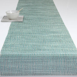 Chilewich - Chilewich Lattice Runner, Aqua - For your table decor to properly mesh, you should begin with a simple and accommodating base design. In this case, an open weave table runner woven with shimmering threads offers just the understated backdrop drama you're looking for.