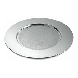 Alessi - Alessi Disco Cesellato Placemat - You won't be able to stop your dinner guests from lifting their plates to peek at the flawless mirrored surface and elegant swirly design of this unique charger. Just keep your fingers crossed they don't dump their dinners in the process.