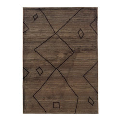 "Grandin Road - Tribal Indoor Area Rug - 2'7"" x 10' - Morroccan-style area rug features a black design on chocolate brown ground. Machine woven construction. Durable 100% polypropylene. Extend the life of your rug with one of our indoor rug pads (sold separately). Anchor your room with our gentle and geometric black-on-brown area rug. The abstract Berber-tattoo-inspired motif provides an eclectic and energetic foundation while the durable construction promises years of comfort underfoot.. . . . Imported."