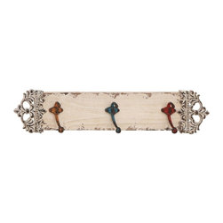 Woodland Import - Off White Distressed Wooden Wall Panel with 3 Multicolored Hooks - 55464 - Shop for Home Furnishings and Accents from Hayneedle.com! Yes a simple wall panel with some hooks just might become your home s finest fashion statement - thank you Off White Distressed Wooden Wall Panel with 3 Multicolored Hooks. Brimming with scrappy charm this wall-panel is made of high-quality wood in a heavily distressed off-white finish. A floral motif adds some Baroque bling but what you ll really love are the three metal hooks. They re finished in heavily distressed yellow blue and red and provide that perfect place for keys belt scarves and more.