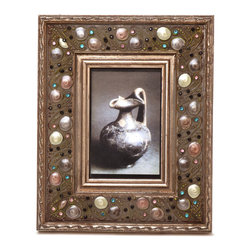 """Traders and Company - Enamel Inlaid 4x6 Wood Picture Frame w/ Jewels, 8.5""""Lx1""""Wx10.5""""H - Belcourt - Crafted from wood and given a classically antiqued look, each frame is dramatically inlaid with swirled resinous enamel. Embedded colorful rhinestone jewels dot the design, adding sparkle and shimmer to your photos. Each frame comes with an attached kickstand for desktop use, or hooks for vertical or horizontal wall hanging. Fits 4""""x6"""" photos. Alternate shapes & styles sold separately. Dimensions: 8.5""""Lx1""""Wx10.5""""H"""