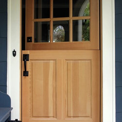 Dutch Door - Dutch entry door manufactured by Rogue Valley Door in southern Oregon.  Solid core fir with a natural finish. Photo by Sloan Schang.