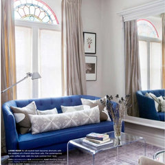 eclectic  Blue couch living room (via Feb Style@Home)