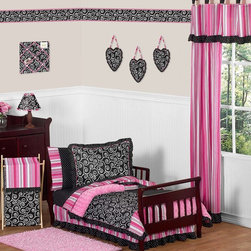 Sweet Jojo Designs - Madison Toddler Bedding Set (5-Piece) - The Madison 5-Piece Toddler Bedding Set by Sweet Jojo Designs will help you create an incredible room for your child. This girl bedding set features exclusive Sweet Jojo Designs 100% cotton prints, including a black and white scroll print, a bold designer stripe and mini polka dot print. It also boasts an incredibly soft minky swirl chenille. This collection uses the stylish colors of pink, black and white. The design uses 100% cotton fabrics combined with soft chenille fabric that are machine washable for easy care. This wonderful set will fit all crib and toddler beds.