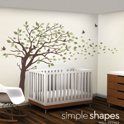 Elegant Style Blowing Leaves Tree Decal for Baby Nursery or Home - Simple Shapes