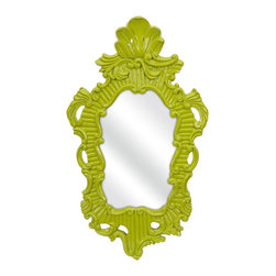iMax - iMax Finely Green Baroque Framed Wall Mirror X-97374 - In a vivid green baroque style frame, the Finely wall mirror adds a vintage style to any space.