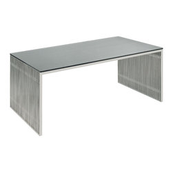"Nuevo Living - Amici Desk Stainless Steel and Glass by Nuevo - HGDJ197 - The Amici desk features brushed stainless steel frame and a 1/2"" tempered glass top.  Modern and efficient, the Amici is a nice fit for a clean and minimalist looking office."