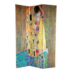 "Oriental Furniture - 6Feet Tall Double Sided Works of Klimt Room Divider - Features: -Room divider. -Three panel screen has different images on each side. -High quality wood. -Fabric covered room divider. -Well constructed, extra durable, kiln dried Spruce wood frame panels. -Covered top to bottom, front, back and edges with tough stretched poly cotton blend canvas. -Two extra large, beautiful art prints. -Printed with fade resistant, high color saturation ink, creating 2 stunning, long lasting and vivid images. -Amazingly inexpensive, practical, portable, decorative accessory. -Almost entirely opaque, double layer of canvas, providing complete privacy. -Easily block light from a bedroom window or doorway. Dimensions: -70.75"" H x 48"" W x 0.75"" D, 14 lbs."