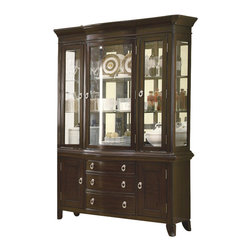 Coaster - Coaster Meredith Buffet with Hutch in Espresso - Coaster - Buffet Tables & Sideboards - 103534 - Provide your dining room with ample storage space by adding this stunning china cabinet. The piece carries a beautiful espresso finish and features birch veneers as well as bail handles. In addition the three drawers and two doors are wonderful for keeping dishes silverware tablecloths and utensils. Meanwhile the hutch comes with three glass panel doors that allow for easy showcasing of china wine glasses decorative bowls and vases. There will be plenty to be pleased about with this buffet and hutch in your home.