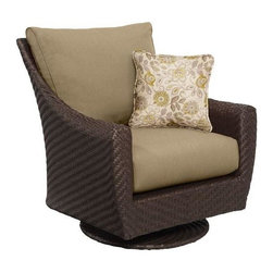 Highland Patio Motion Lounge Chair, Meadow with Aphrodite Spring Throw Pillow - This chair will be such a regal addition to your porch or patio. I love that it swivels!