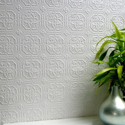 Brewster - Anaglypta Derby Paintable Wallpaper - A unique geometric design combined with a subtle texture for your walls. Inspire your walls with this paintable wallpaper. Each wallpaper bolt is 20.5 inches wide and 33 feet long, covering about 56 square feet. The pattern has a 3.5 inch repeat and a Straight match type.