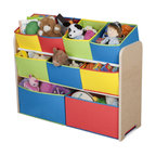 Adarn Inc - Colorful Clean Style Natural Wood Frame Deluxe Large Toy Organizer Box w/ 9 Bins - This stylishly designed Multi-Color Toy Organizer is the perfect storage item to keep your children's toys in order. Featuring nine uniquely sized storage boxes, this organizer makes cleaning up easy and exciting. Meets all JPMA safety standards. Some assembly required.
