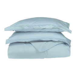 """500 Thread Count Cotton Duvet Cover Set - Twin/Twin XL - Light Blue - These 500 thread count duvet cover sets are made of premium quality cotton and built to last. They offer long lasting comfort and are a great value for the price. Each set includes a duvet cover: 68""""x90"""" and two pillow shams: 20""""x26""""."""