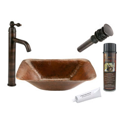 Premier Copper Products - Rectangle Old World Vessel Sink w/ ORB Faucet - PACKAGE INCLUDES: