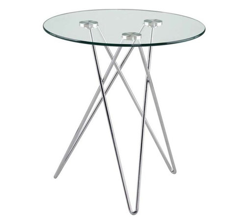 Eurostyle - Eurostyle Zoey Round Clear Glass Side Table w/ Chromed Steel Base - Round Clear Glass Side Table w/ Chromed Steel Base belongs to Zoey Collection by Eurostyle At 20.5 inches in height, Zoey is the perfect companion to a sofa or a favorite chair. The clear glass top gives you an ideal view of a set of three steel legs that you'll never figure out no matter how long you look at them. Side Table (1)