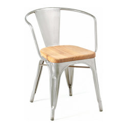 Marais Armchair, Wood Seat, Galvanized - I am having serious chair lust for this Marais chair with a wooden seat. Yes, cheaper knockoffs abound, but I've heard they're not weatherproof like the real deals are.