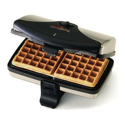 """Chef's Choice - Chef's Choice WafflePro Waffle Maker Model#852 - Ideal for homemade or quick mix batters, the WafflePro M852 features a superior non-stick easy release coating and consistent even heating that guarantees beautiful waffles uniformly cooked inside and out for the perfect tasty treat. It quickly recovers its temperature so its always ready to bake and feed even the biggest of appetites. The top waffle plate is Attachched with a floating hinge to ensure uniform thickness and even baking. A convenient, easy open latching handle combined with a built"""" cord storage compartment allows this waffle maker to be efficiently stored in a space-saving upright position.Adjustable baking controlHeating indicator lightInstant temperature recovery - always ready to bakeLimited One-Year Appliance Warranty"""
