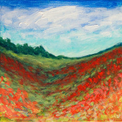"Gwen Duda Studios - Red Poppy Field Original Acrylic Landscape Painting 8""x8"" - Feast your eyes on poppy fields that stretch as far as the eye can see in this original acrylic landscape painting on canvas. It is 8"" x 8"" with the image wrapping around the sides of the canvas. It can be hung as is or framed to your liking."