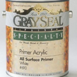 California Products - Gray Seal - 690 1G White Latex All Surface - ACRYLIC LATEX ALL-SURFACE PRIMER  All surface interior/exterior primer-sealer  Use on bare wood, metal and masonry  Use on hardboard siding, plywood, cedar, poplar,  pine, oak and fir  Seals smoke & water stains on ceiling & walls  Fights rust on clean steel  Perfect enamel undercoat for new woodwork  May be topcoated with latex or oil-base paints    690 1G WHITE LATEX ALL SURFACE  Size:1 Gal.  Color: White