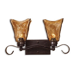 Vetraio 2 Light Bronze Vanity Strip - *Heavy Hand Made Glass Is Held In Classic European Iron Works Giving These Pieces A Contemporary Quality, With Strong Traditional Appeal As Well.
