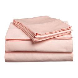 300 Thread Count Egyptian Cotton Twin XL Peach Solid Sheet Set - 300 Thread Count Egyptian Cotton Twin XL Peach Solid Sheet Set