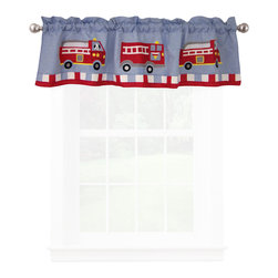 Pem America - Cotton Fire Truck Valance - Antique fire trucks for your little fire fighter.  The fire trucks are hand sewn to the quilt with a cooling blue background and bright red firetrucks.  The face of the quilt feature a white frame on the deck and edged in a dramatic red.  Look closely and you will see playful Dalmatians along for the ride! Valance measures 18 inches high by 70 inches wide with 3 inch rod pocket. 100% cotton face material. Machine wash cold/gentle, do not bleach, tumble dry low.