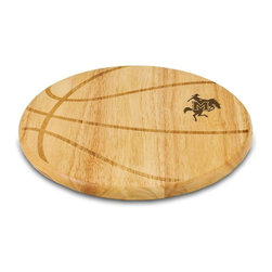 """Picnic Time - McNeese State Free Throw Cutting Board - The Free Throw cutting board is a 12"""" round x 0.75"""" board made of eco-friendly rubberwood in a basketball design, with 104 square inches of cutting surface. It can be used as a cutting board or serving tray, or use both sides of the board, one for cutting and the other for serving. The backside of the board has is blank, with no design. Score with your guests when you show them your Free Throw! (Point of sale Cutting Board Display Rack (899-00-505) available. See item for details.); College Name: McNeese State; Mascot: Cowboys; Decoration: Laser Engraving"""