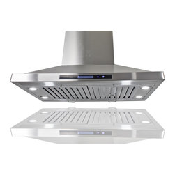 "AKDY - AKDY AG-Z9002 Euro Stainless Steel Island Mount Range Hood, 30"" - This AG-Z9002 30"" island range hood removes cooking odors from your kitchen quickly using its 3-speed, 870 CFM centrifugal exhaust fan. The baffle filter helps eliminate grease from the air and is washable for easy cleanup. Model available in 30"", 36"", and 48"", optional recirculating kits are available as well."