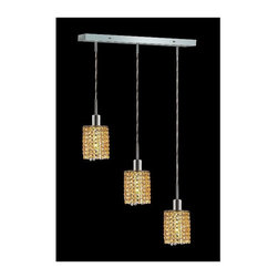 Elegant Lighting - Mini Topaz Crystal Pendant w 3 Lights in Chrome (Royal Cut) - Choose Crystal: Royal Cut. 3 ft. Chain/Wire Included. Bulbs not included. Crystal Color: Lt. Topaz (Yellow). Chrome finish. Number of Bulbs: 3. Bulb Type: GU10. Bulb Wattage: 55. Max Wattage: 165. Voltage: 110V-125V. Assembly required. Meets UL & ULC Standards: Yes. 14.5 in. D x 8 to 48 in. H (8lbs.)Description of Crystal trim:Royal Cut, a combination of high quality lead free machine cut and machine polished crystals & full-lead machined-cut crystals..SPECTRA Swarovski, this breed of crystal offers maximum optical quality and radiance. Machined cut and polished, a Swarovski technician¢s strict production demands are applied to this lead free, high quality crystal.Strass Swarovski is an exercise in technical perfection, Swarovski ELEMENTS crystal meets all standards of perfection. It is original, flawless and brilliant, possessing lead oxide in excess of 39%. Made in Austria, each facet is perfectly cut and polished by machine to maintain optical purity and consistency. An invisible coating is applied at the end of the process to make the crystal easier to clean. While available in clear it can be specially ordered in a variety of colors.Not all trims are available on all models.