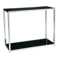 Office Star - Office Star Avenue Six Yield Foyer Table in Chrome / Black Glass - Yield Foyer table in chrome / black glass