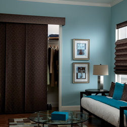 Bali® Sliding Panels: Damask - Bali Sliding Panels offer a modern alternative to standard window treatments.  Perfect for patio doors, wide windows or as a room divider, these versatile panels slide along a smooth operating aluminum track.  The Damask fabric collection is a timeless design in contemporary colors.  Customize your blind with an upgrade valance or wood cornice, or complete your room with a coordinating shade.  For instructions on how to measure for the entire window to be uncovered when the blinds are open, please review the Bali clear opening chart.