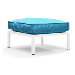 Zuo Modern - Copacabana Ottoman Turquoise - The Copacabana collection is designed for funky versatility. This set has modular pieces of an armless chair, a corner armchair, an ottoman, and a table. The cover is made from a completely waterproof and UV resistant polyester fiber. The frame is made from an epoxy coated aluminum. The fill is 100% pure polystyrene beads. All the cushions can be attached via durable oversize zipper. Have fun with the cushions and throw them in the pool...they will float!