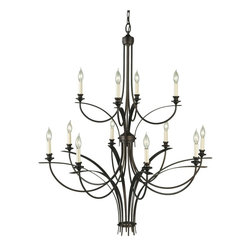 Murray Feiss - Murray Feiss Boulevard Transitional Chandelier X-BRO4+8/1981F - The sweeping contemporary curves add a modern but feminine appeal to this Murray Feiss chandelier. From the Boulevard Collection, it features two tiers of candelabra style lights for added traditional styling. The warm tones of the Oil Rubbed Bronze finish compliment the body and pull the look together.