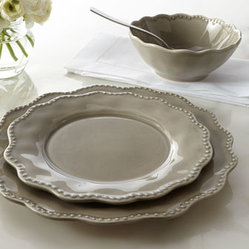 "Horchow - 12-Piece ""Tara"" Dinnerware Service - A lovely scalloped rim and beaded border add texture and dimension to the neutral hue of this simple dinnerware pattern. Made of earthenware. Hand painted. Dishwasher safe. 12-piece service includes four 11""Dia. dinner plates, four 9""Dia. salad plat..."
