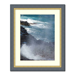 "Frames By Mail - Wall Picture Frame Black ribbed with a gold lip - white acid-free matte, 8x10 - This 8X10 2.25"" wide black ribbed frame with a gold lip is imported from Italy.  The white matte can be removed to accommodate a larger picture.  The frame includes regular plexi-glass (.098 thickness) foam core backing and can hang either horizontal or vertical."