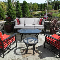 Koverton Evans Collection 6-Piece Outdoor Deep Seating Set - Fueled by a fresh outlook in the industry and the passion to create timeless pieces, Koverton offers the Evans Collection of outdoor furniture that distinctly appeals to all markets and tastes. Each Evans Collection outdoor furniture piece features understated lines and sleek designs that are united to form unique, transitional outdoor furnishings.  Cushions are upholstered in your choice of Sunbrella™ outdoor fabric. Evans 6-Piece Outdoor Deep Seating Set includes: