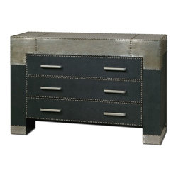 Uttermost - Uttermost Razi Metal Drawer Chest 24290 - Supple, black faux leather finish accented by industrial silver metal sheeting with champagne stain and rivet accents.
