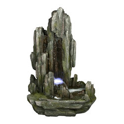 Yosemite Home Decor - Yosemite Home Decor Cascading Water Basin Indoor / Outdoor Fountain X-61001WC - This beautiful fountain has water that flows through the upper level of the cavern and into the small pond below, an LED light inside draws attention to the bubbling basin of water near the base. Indoor or outdoor use.