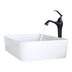 Kraus - Kraus White Rectangular Ceramic Sink and Ventus Faucet Oil Rubbed Bronze - *Add a touch of elegance to your bathroom with a ceramic sink combo from Kraus