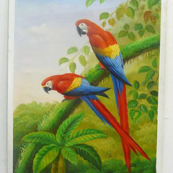 Student Oil Paint Canvas Art 2 Parrots Wall Decor - This is an art work of Chinese art students. Oil painting on canvas. ( ship in roll, no frame )